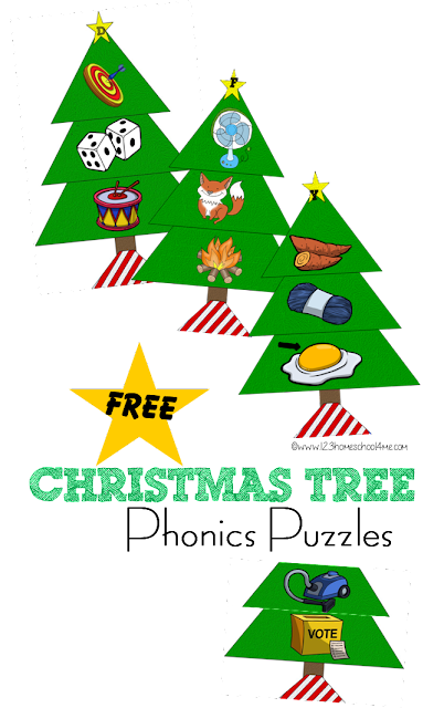 FREE Christmas Tree Phonics Puzzles - this printable alphabet game for toddlers, preschool, kindergarten, and 1st grade will help kids practice their alphabet letters during December. Fun alphabet activity for language arts center or educational christmas activity for kids