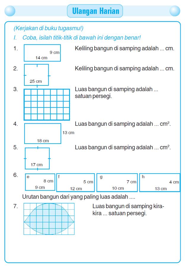 luas dan keliling bangun datar 1 soal kelas 6 sd  1  rumus luas persegi panjang adalah a  b