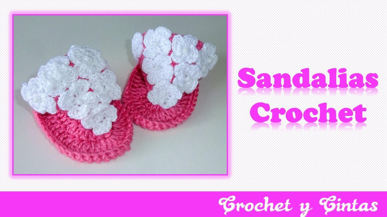 Sandalias de verano con flores para bebés a Crochet ~ Crochet y Cintas