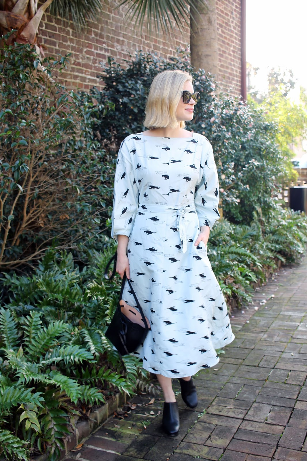Tibi Tempo Print Boatneck Dress