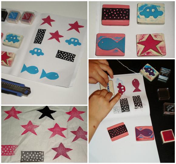 DIY: hacer sellos con gomas de borrar