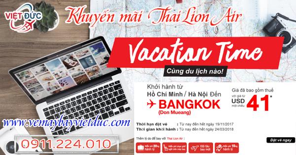 Vé khuyến mãi bay từ Hà Nôi, HCM của Thai Lion Air ngày 08/11/2017