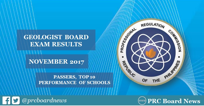 OFFICIAL RESULTS: November 2017 Geologist board exam