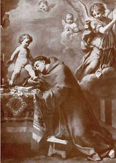 Sirani's beautiful painting Sant'Antonio da Padova in adorazione del bambino