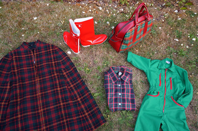 boots courreges bottes vinyl tartan plaid cape bag shirt