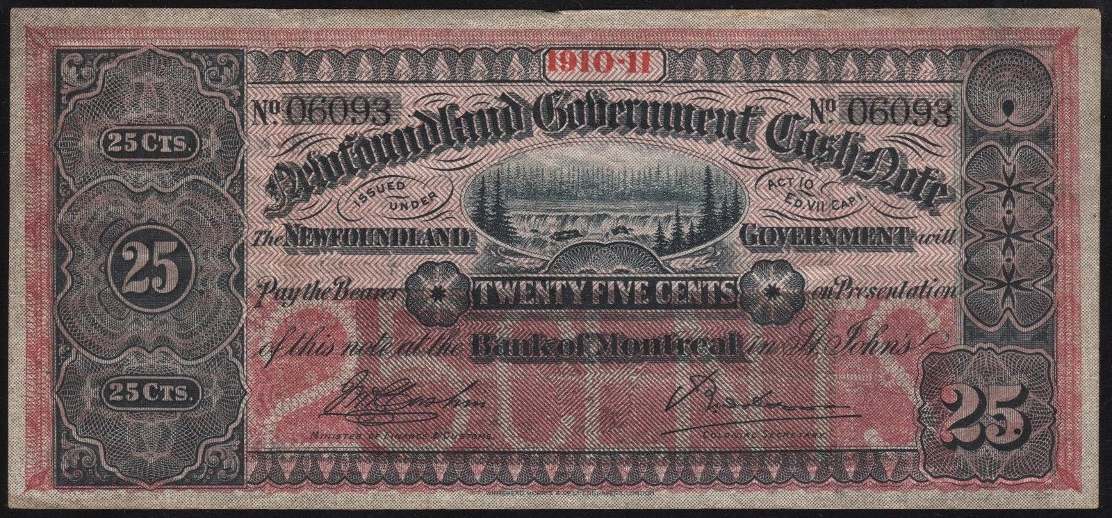 Newfoundland Government Cash Note 25 Cents