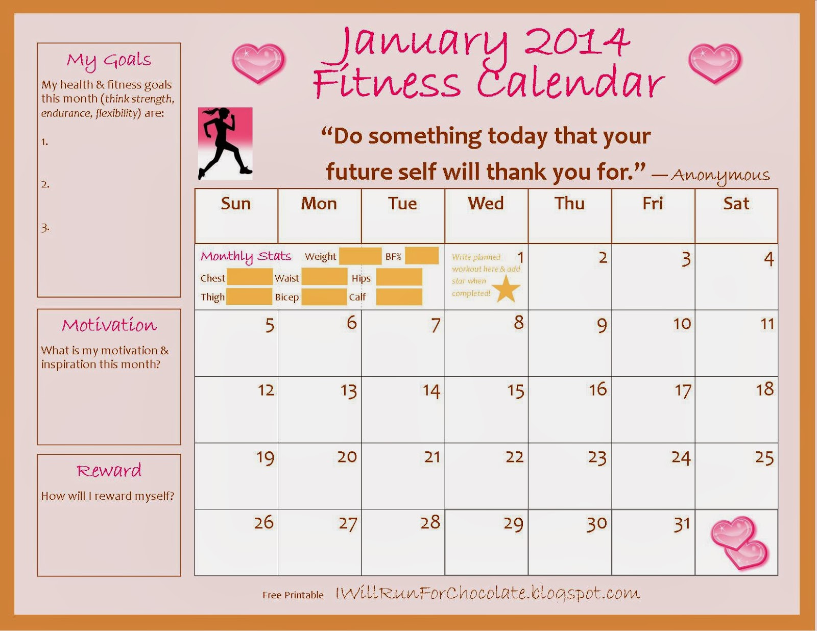 January Printable Exercise Tracker Fitness Calendar