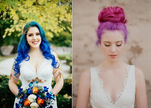 Noiva de cabelo colorido