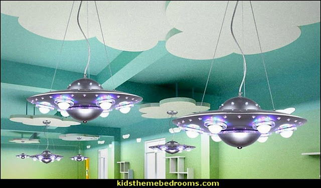 Flying Saucer Lights   outer space theme bedrooms - planets decor - solar system decorating - moon stars alien theme bedrooms - star wars theme bedrooms  - robots rockets theme decorating - galaxy bedding - astronaut wall murals Sci Fi  theme bedrooms - Star Wars bed - space ships theme beds - Star Wars Bedroom - monsters and aliens baby  bedroom - Space Shuttle Bunk Bed With Launch Tower  - Galaxy Room Decor