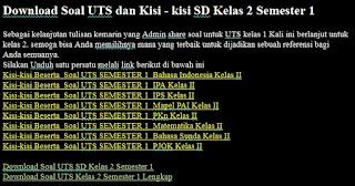 Download Soal UTS dan Kisi - kisi SD Kelas 2 Semester 1