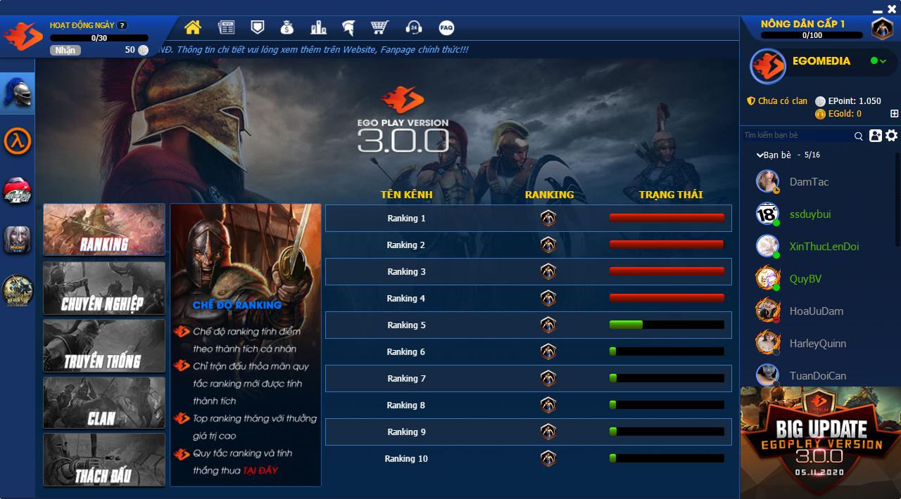 Hệ thống Ranking trên EgoPlay 3.0