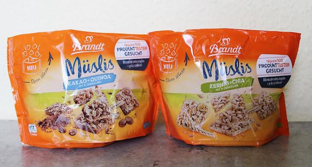 Brandt Müslis in den Sorten Kakao+Quinoa und Kernig+Chia