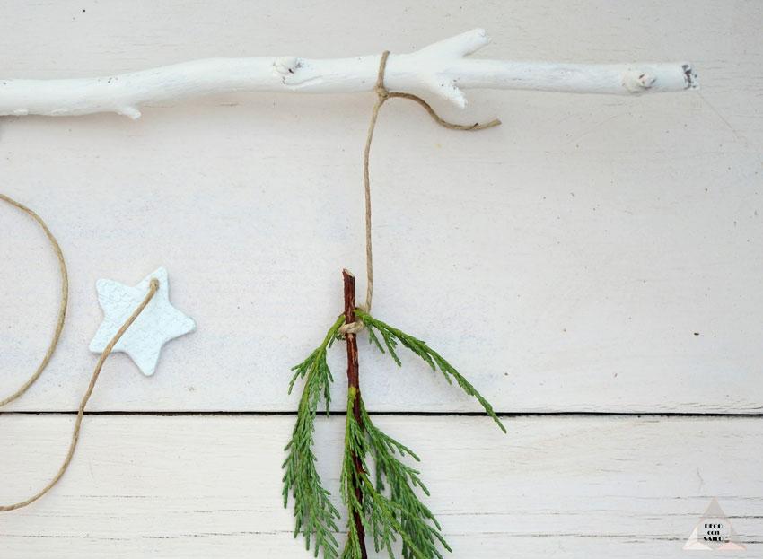 decoracion navidad cuerda pasta de moldear y ramas