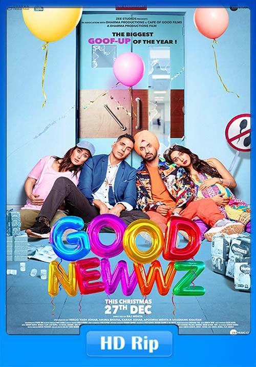 GOOD NEWWZ 2019 Hindi HDRip 720p ESub x264   480p 300MB   100MB HEVC