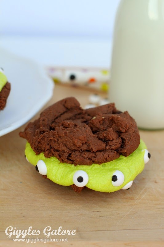 Monster Brownie Sandwich Cookies by Giggles Galore