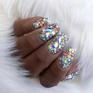 19 simple acrylic nails art designs 2018 with rhinestones