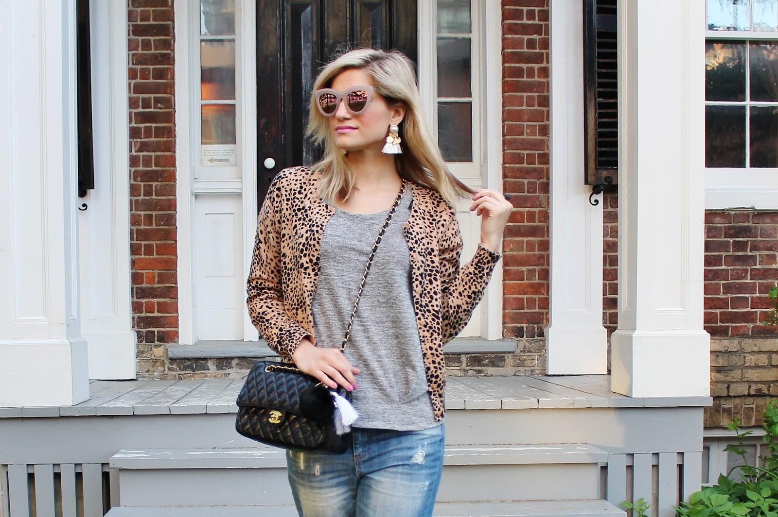 Bijuleni - Streetstyle ootd leopard cardi and boyfriend jeans