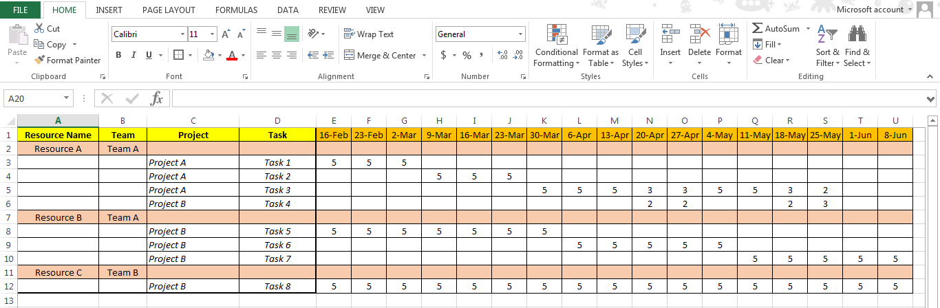 Excel based resource plan template free free project for Project forecasting template