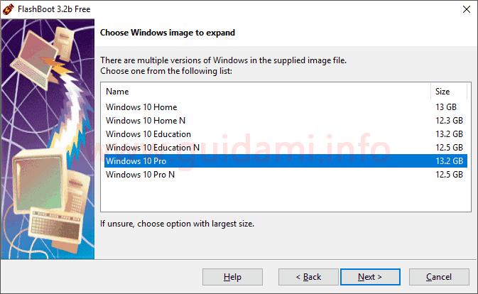 FlashBoot schermata Choose Windows image to expand