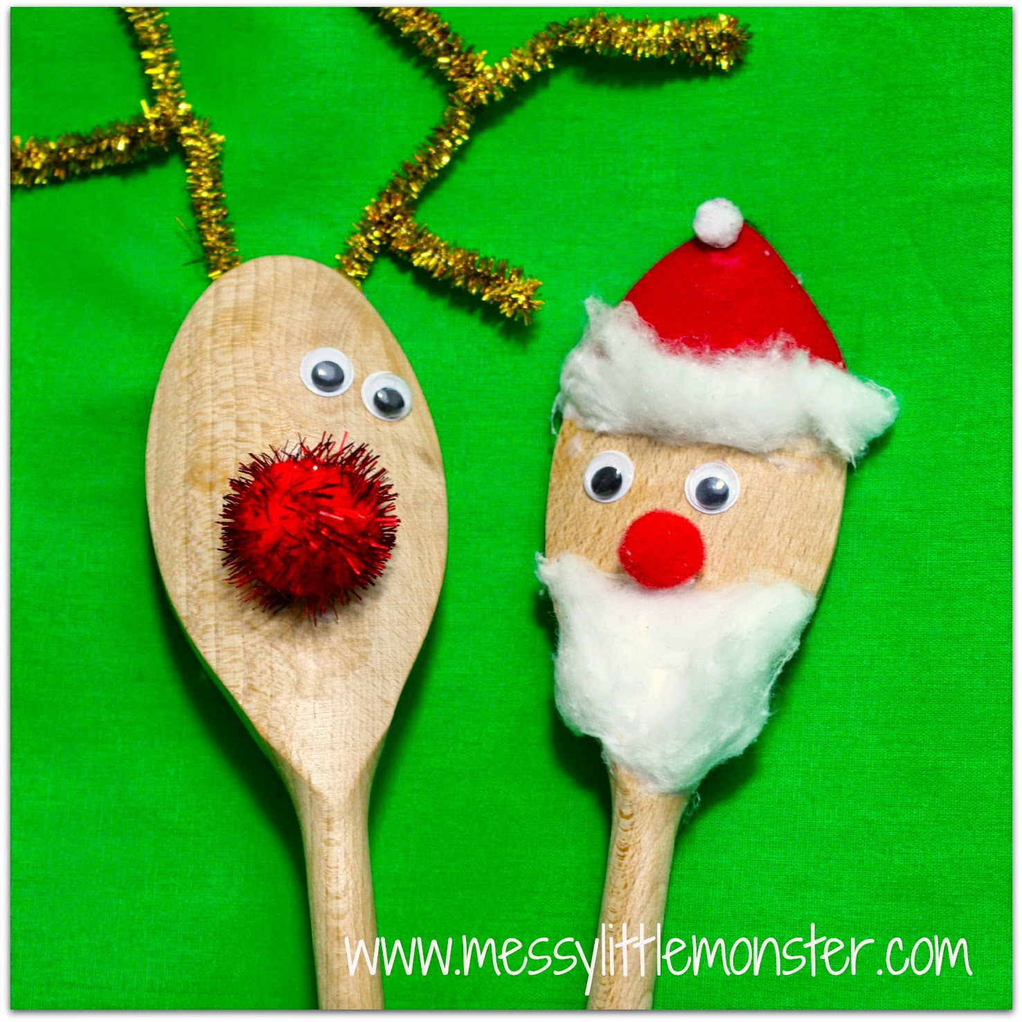 Santa and rudolf spoon puppets simple christmas craft for kids