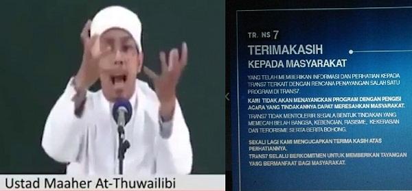 Kualat, Trans7 Akhirnya Batalkan Ustadz Maaher Thuwailibi ...