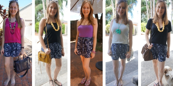 ways to wear blue printed shorts with plain tops and tanks | awayfromblue
