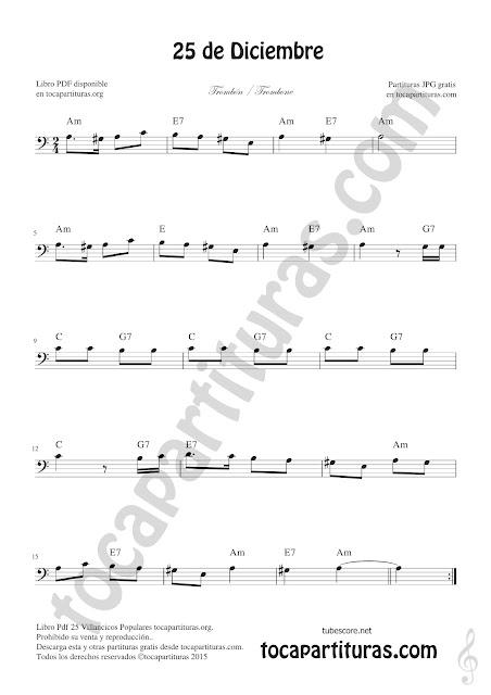 Trombón Partitura de 25 de Diciembre Villancico de Navidad Sheet Music for Trombone Christmas Carol Music Scores