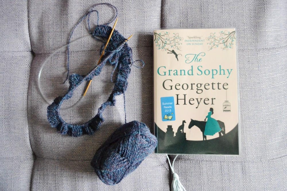 knitting cardigan kaila jamiesons sheltand reading library book the grand sophy georgette heyer