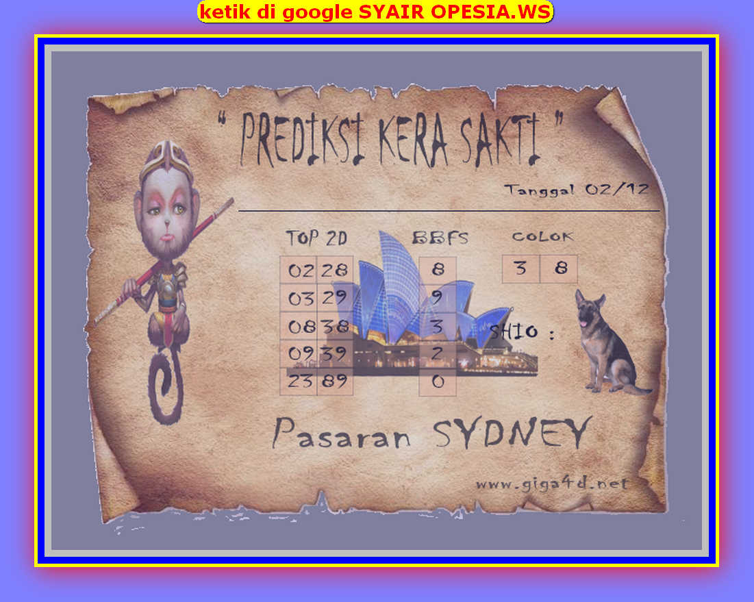 Kode syair Sydney Senin 2 Desember 2019 121