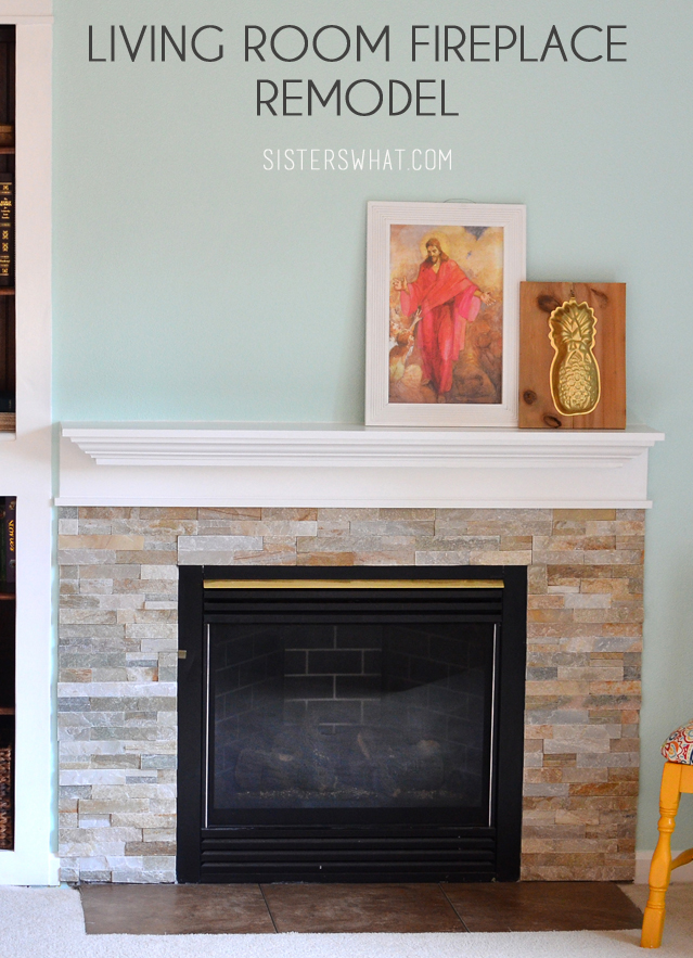 fire place update with stone and white mantel