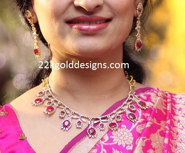 Simple Design Ruby Diamond Necklace
