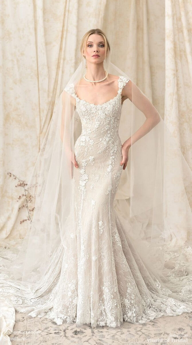 0f1d726c7b3 Justin Alexander Signature Spring 2018 Fit and Flare Gown with Scoop Neck  and Cap Sleeves