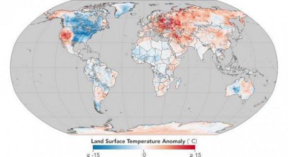 У NASA показали мапу аномальної погоди у світі