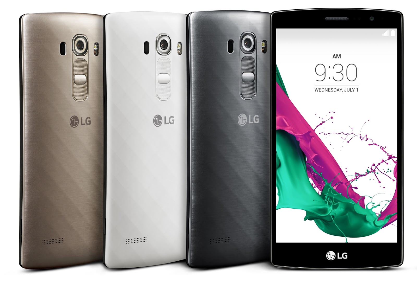 LG G4 Beat LTE in Shiny Gold, Ceramic White, and Metallic Silver