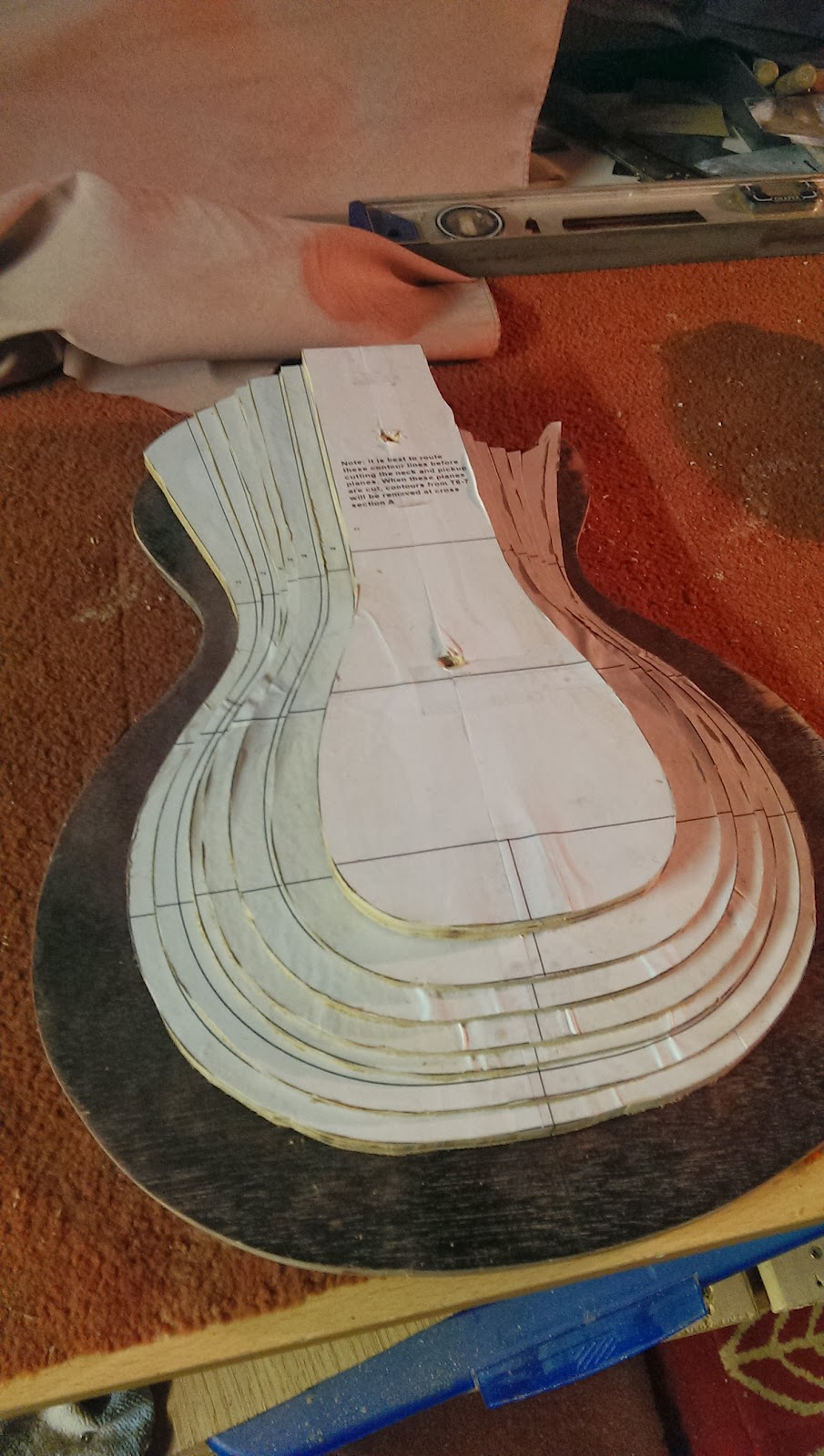les paul top carving template - dlp guitars dlp les paul 2 carving the body