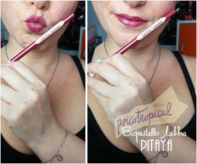 biopastello labbra lippencil PITAYA APPLICAZIONE MAKEUP psicotropical collection neve cosmetics nuova formula