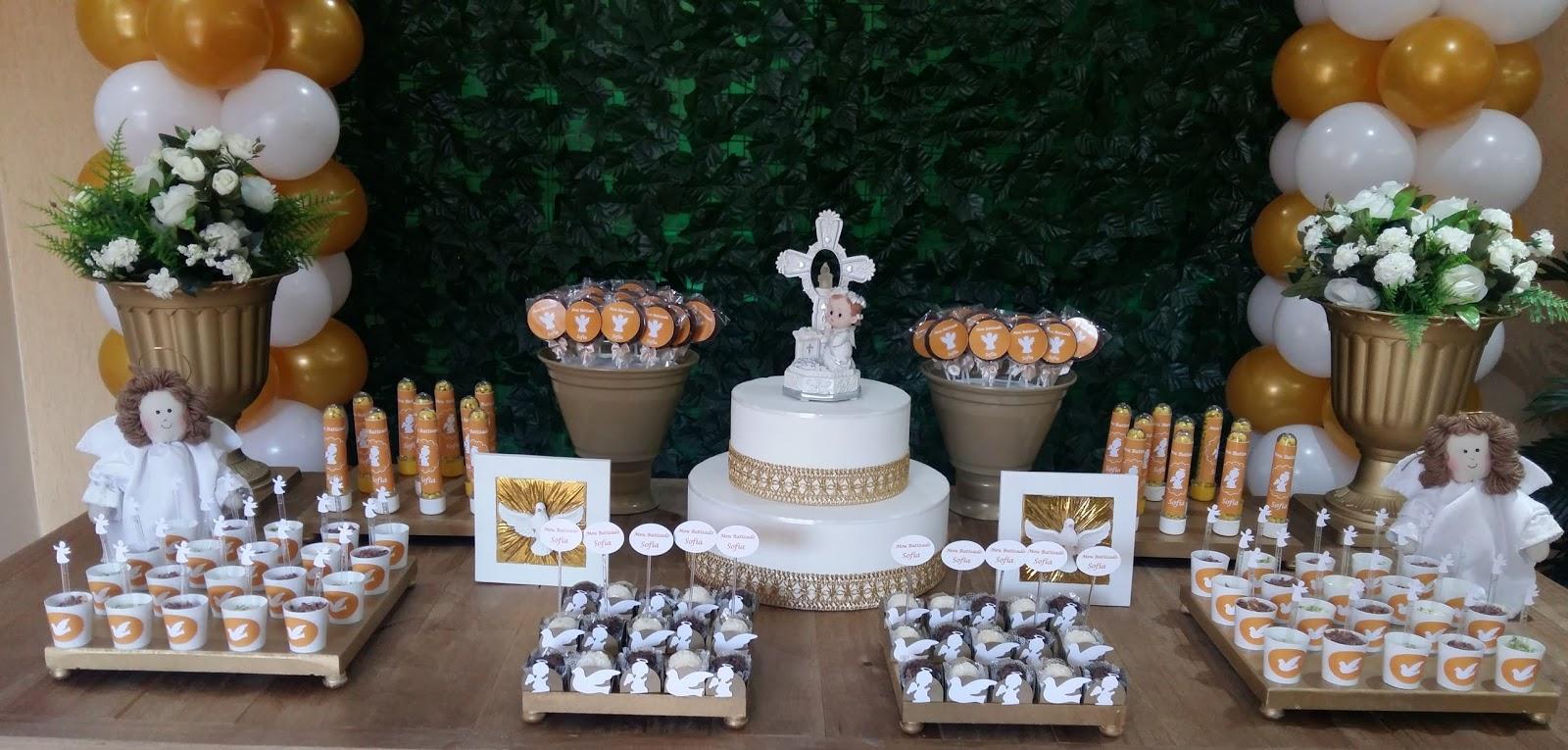 Cau Rí Eventos Decoraç u00e3o Rústica Batizado Branco e Dourado -> Decoracao De Batizado Branco Com Dourado