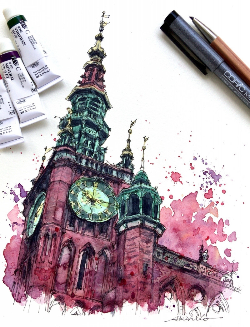 08-Gdansk-Poland-Akihito-Horigome-Travelling-Drawing-and-Painting-www-designstack-co