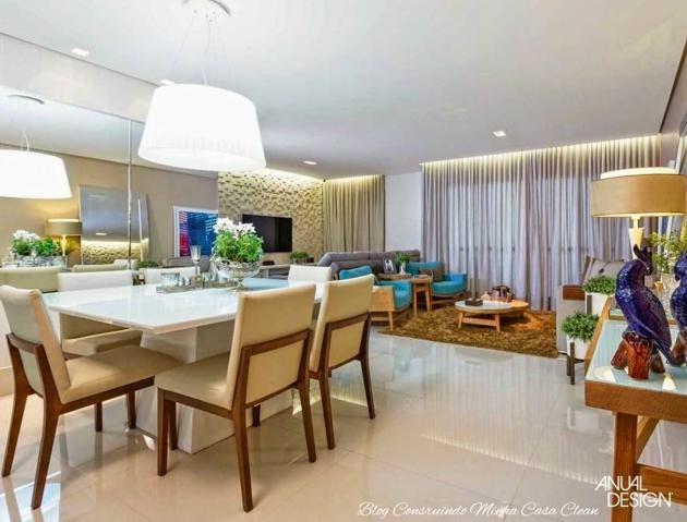 Sala De Estar E Jantar Com Lareira ~  sala de jantar um pendente branco discreto e spots e na sala de estar