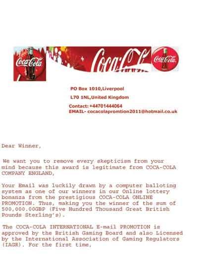 Scam Report The Coca Cola International E Mail Promotion