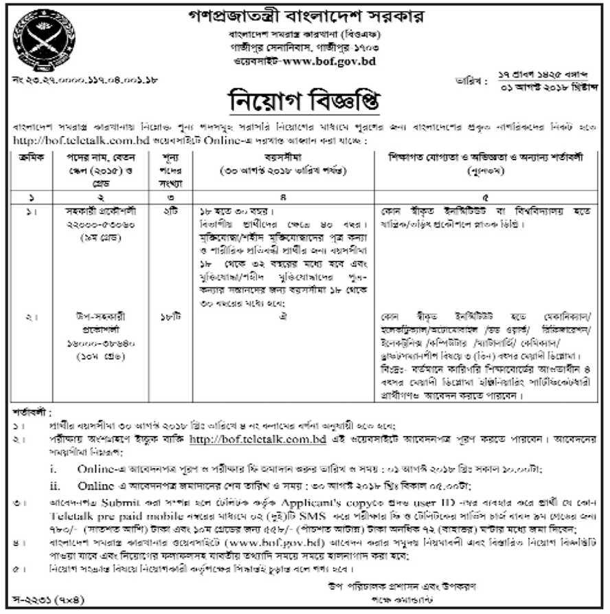 Bangladesh Ordnance Factories (BOF) Job Circular 2018