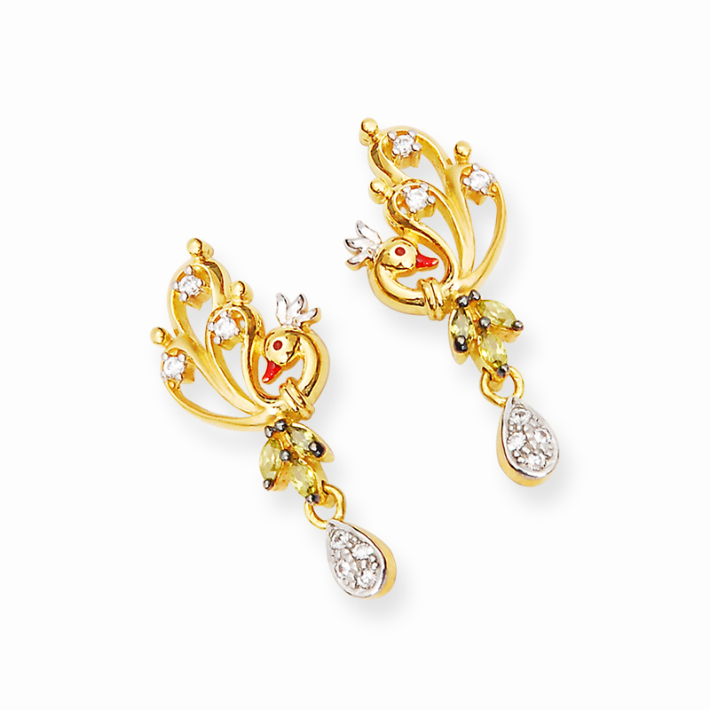 Indian Jewellery and Clothing: Peacock design pendants and earrings..