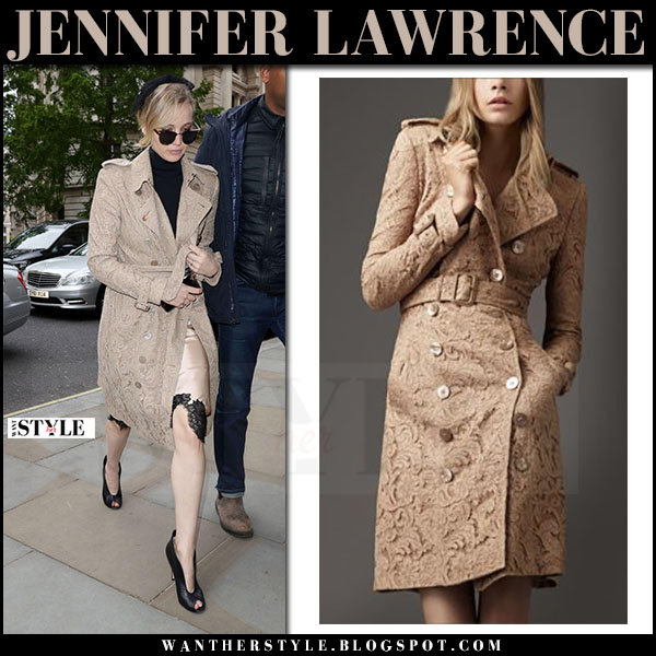 Jennifer Lawrence in beige lace trench coat burberry what she wore may 8 2017