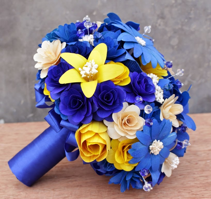 Royal Blue And Yellow Wedding Bouquets Pomanders Corsages Boutonnieres Made Of Wooden Flowers