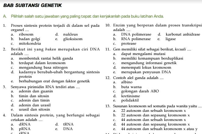 Kisi-Kisi Soal Ulangan Harian Biologi SMA Kelas XII Bab Substansi Genetika