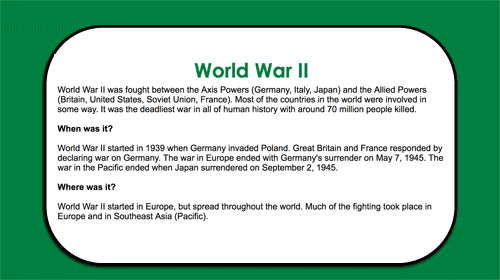 Extended World War II information