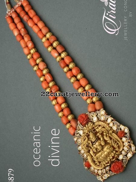 Coral Beads Long Set with Lakshmi Pendant