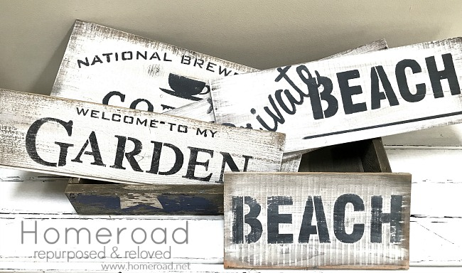 distressed and rustic signs created from wine box wood