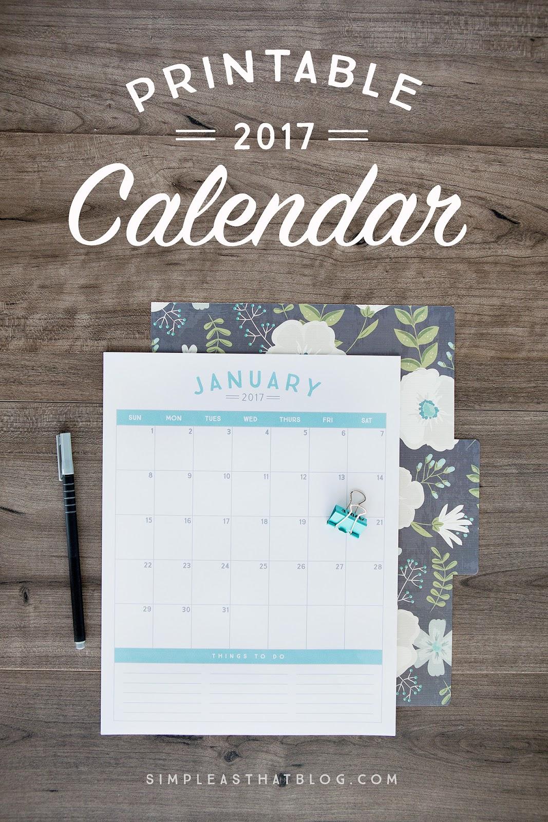 free 2017 printable calendar simple as that