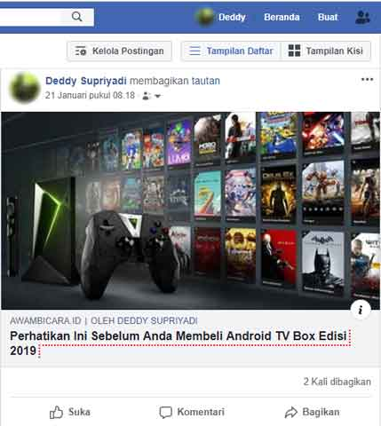 tombol bagikan share facebook hilang
